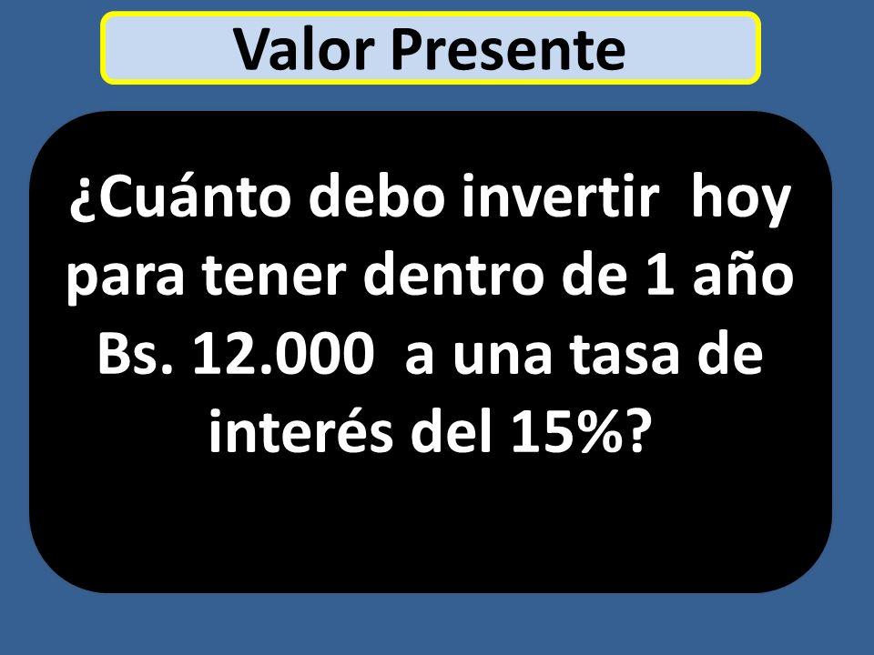 Valor Presente ¿Cuánto debo invertir hoy para tener dentro de 1 año Bs. 12.000 a una tasa de interés del 15%?