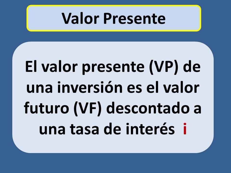 El valor presente (VP) de una inversión es el valor futuro (VF) descontado a una tasa de interés i