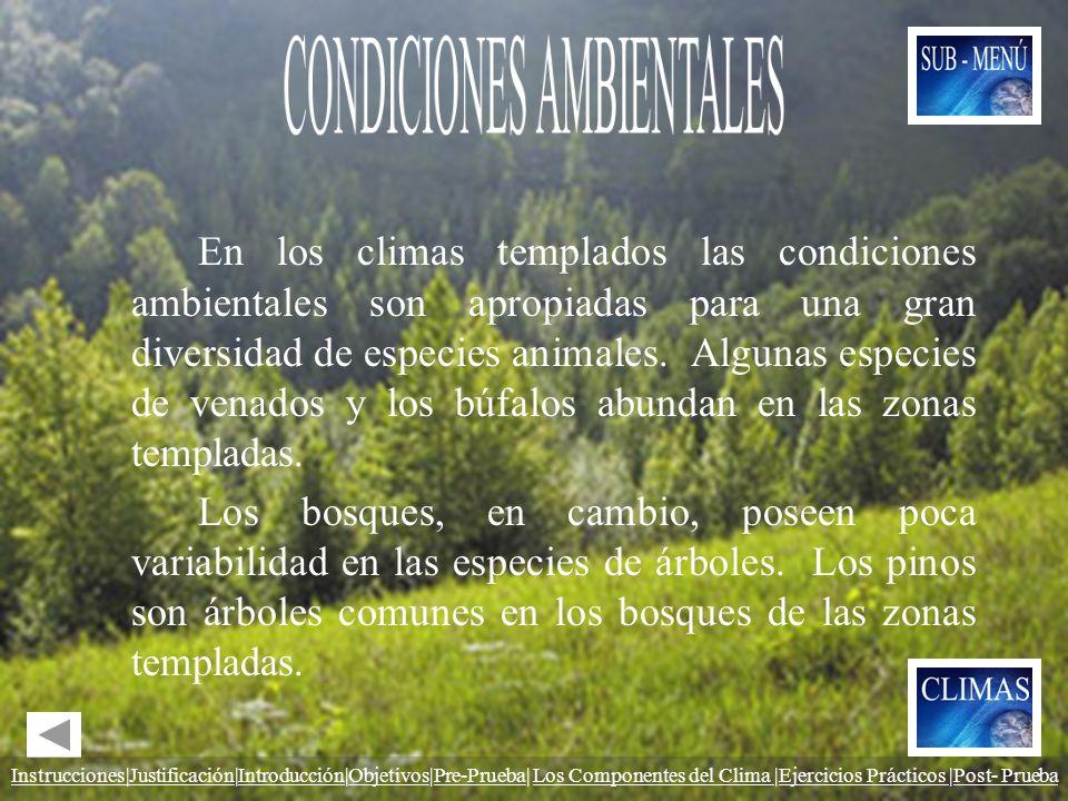 En los climas templados las condiciones ambientales son apropiadas para una gran diversidad de especies animales. Algunas especies de venados y los bú