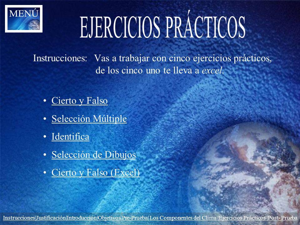 Instrucciones: Vas a trabajar con cinco ejercicios prácticos, de los cinco uno te lleva a excel. Cierto y Falso Selección Múltiple Identifica Selecció
