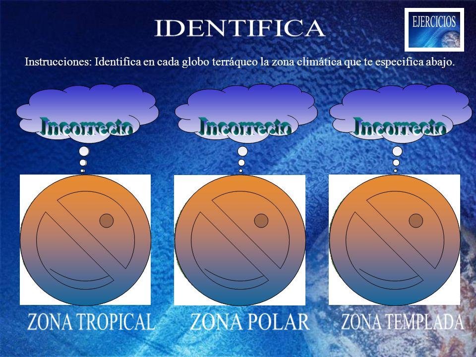 Instrucciones: Identifica en cada globo terráqueo la zona climática que te especifica abajo.