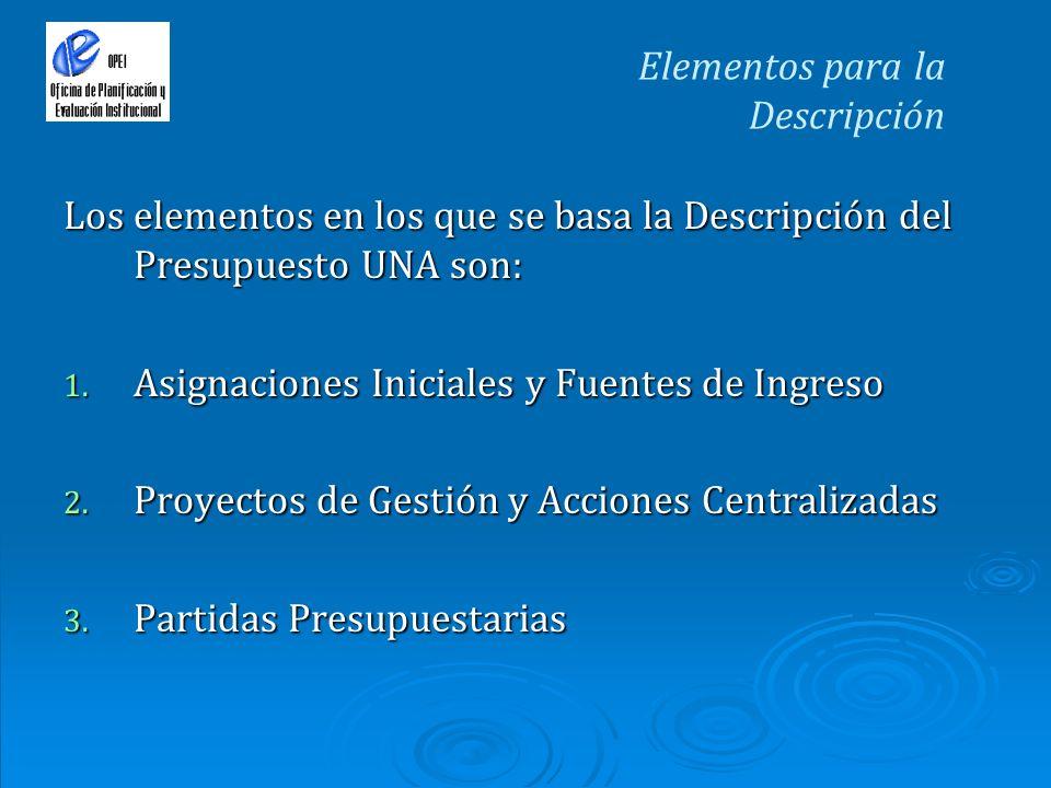 Elementos para la Descripción Los elementos en los que se basa la Descripción del Presupuesto UNA son: 1. Asignaciones Iniciales y Fuentes de Ingreso