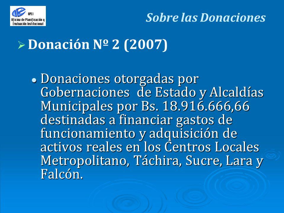 Sobre las Donaciones Donación Nº 2 (2007) Donaciones otorgadas por Gobernaciones de Estado y Alcaldías Municipales por Bs. 18.916.666,66 destinadas a