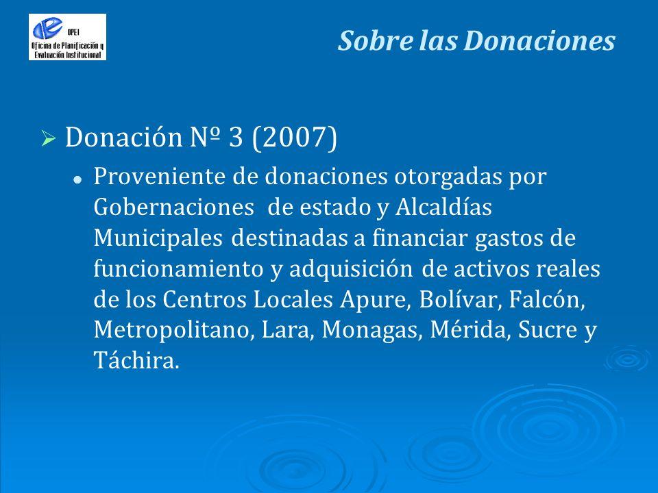 Donación Nº 3 (2007) Proveniente de donaciones otorgadas por Gobernaciones de estado y Alcaldías Municipales destinadas a financiar gastos de funciona