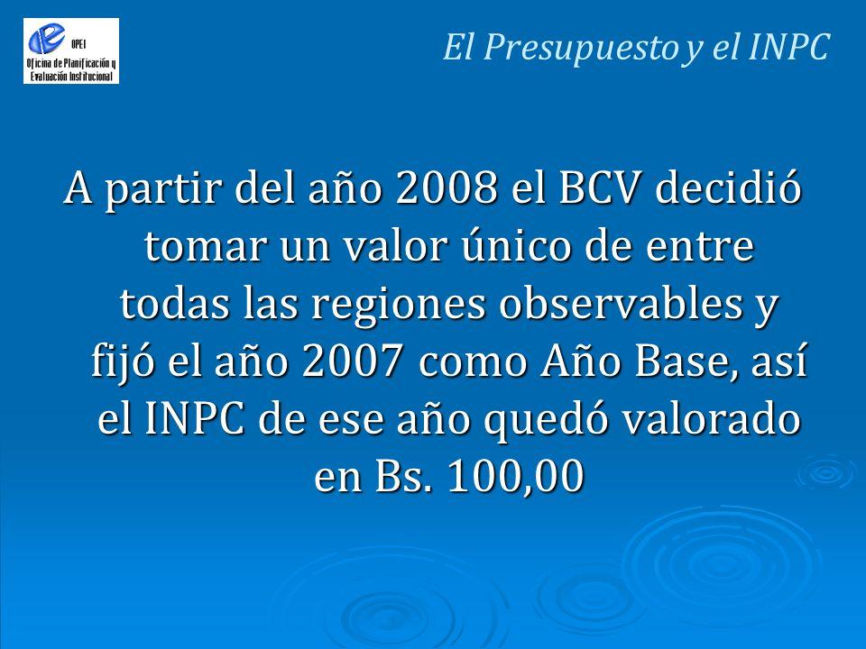 A partir del año 2008 el BCV decidió tomar un valor único de entre todas las regiones observables y fijó el año 2007 como Año Base, así el INPC de ese