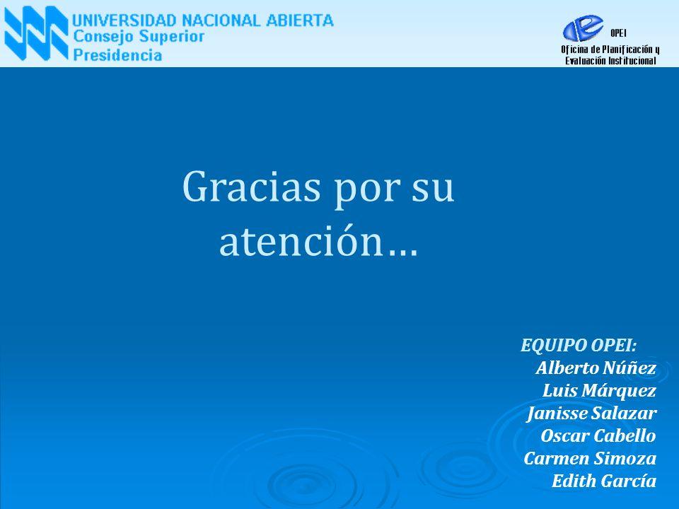 EQUIPO OPEI: Alberto Núñez Luis Márquez Janisse Salazar Oscar Cabello Carmen Simoza Edith García Gracias por su atención…
