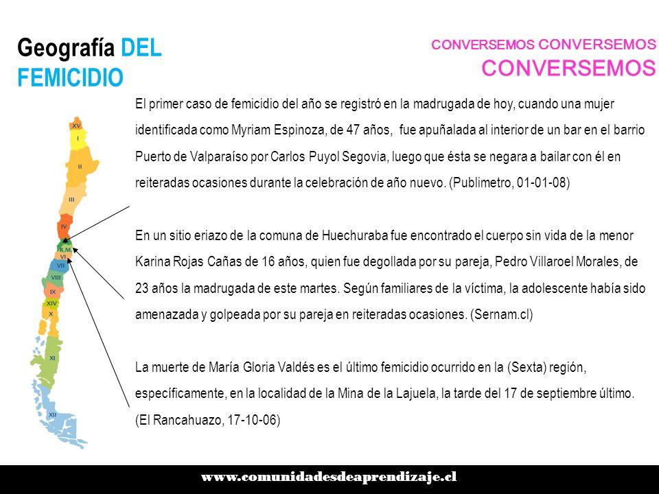 Geografía DEL FEMICIDIO www.comunidadesdeaprendizaje.cl CONVERSEMOS CONVERSEMOS CONVERSEMOS El primer caso de femicidio del año se registró en la madr
