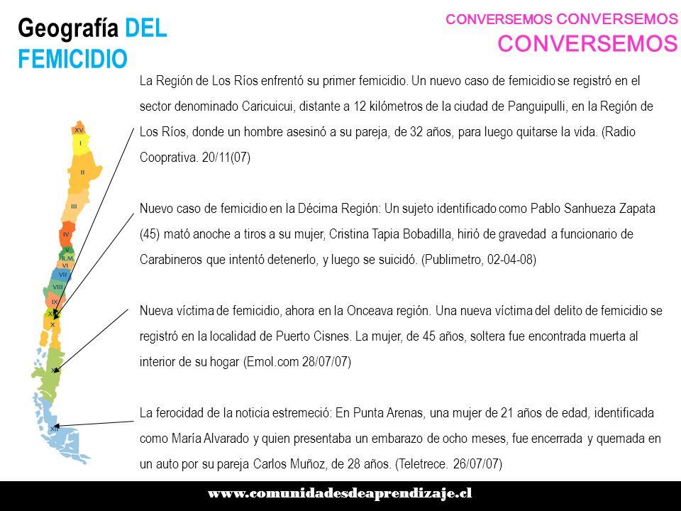 Geografía DEL FEMICIDIO www.comunidadesdeaprendizaje.cl CONVERSEMOS CONVERSEMOS CONVERSEMOS La Región de Los Ríos enfrentó su primer femicidio. Un nue