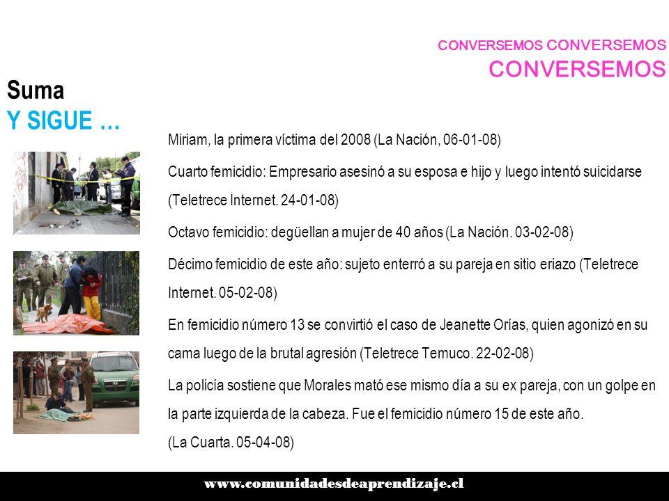 Suma Y SIGUE … Miriam, la primera víctima del 2008 (La Nación, 06-01-08) Cuarto femicidio: Empresario asesinó a su esposa e hijo y luego intentó suici