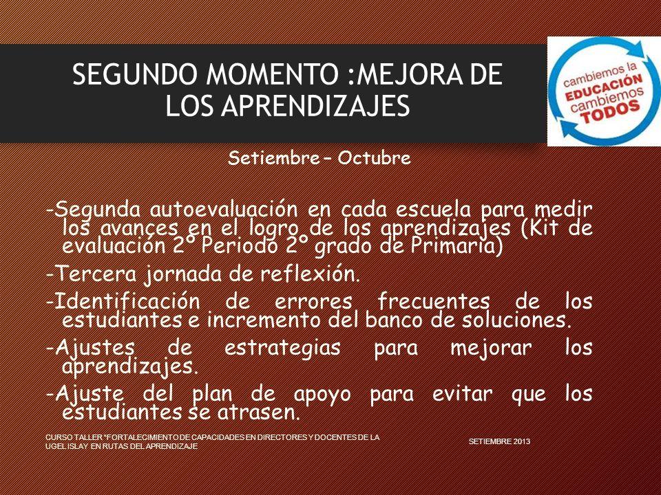 SEGUNDO MOMENTO :MEJORA DE LOS APRENDIZAJES Setiembre – Octubre -Segunda autoevaluación en cada escuela para medir los avances en el logro de los aprendizajes (Kit de evaluación 2º Periodo 2º grado de Primaria) -Tercera jornada de reflexión.