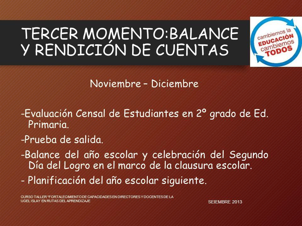 TERCER MOMENTO:BALANCE Y RENDICIÓN DE CUENTAS Noviembre – Diciembre -Evaluación Censal de Estudiantes en 2º grado de Ed. Primaria. -Prueba de salida.