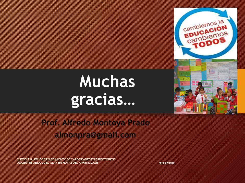 Muchas gracias… Prof. Alfredo Montoya Prado almonpra@gmail.com SETIEMBRE CURSO TALLER FORTALECIMIENTO DE CAPACIDADES EN DIRECTORES Y DOCENTES DE LA UG