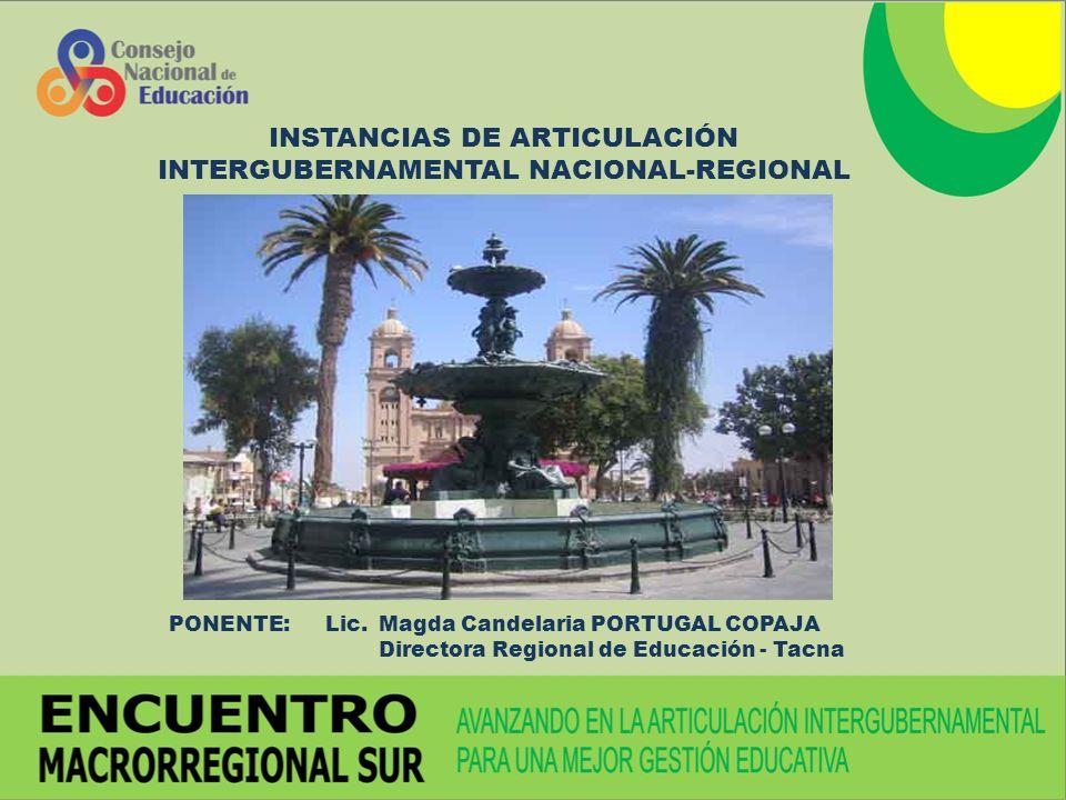INSTANCIAS DE ARTICULACIÓN INTERGUBERNAMENTAL NACIONAL-REGIONAL PONENTE: Lic.