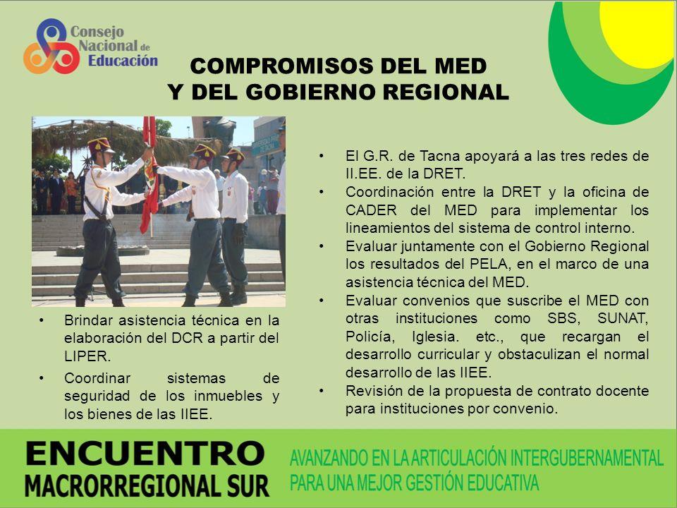 COMPROMISOS DEL MED Y DEL GOBIERNO REGIONAL Brindar asistencia técnica en la elaboración del DCR a partir del LIPER.