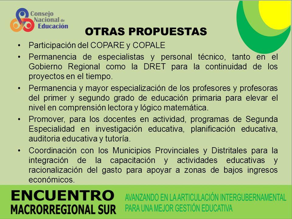 OTRAS PROPUESTAS Participación del COPARE y COPALE Permanencia de especialistas y personal técnico, tanto en el Gobierno Regional como la DRET para la continuidad de los proyectos en el tiempo.