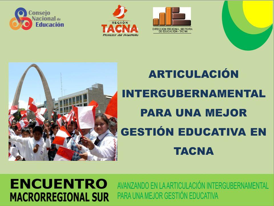 ARTICULACIÓN INTERGUBERNAMENTAL PARA UNA MEJOR GESTIÓN EDUCATIVA EN TACNA