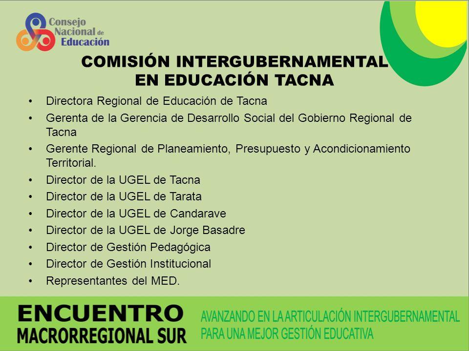 COMISIÓN INTERGUBERNAMENTAL EN EDUCACIÓN TACNA Directora Regional de Educación de Tacna Gerenta de la Gerencia de Desarrollo Social del Gobierno Regional de Tacna Gerente Regional de Planeamiento, Presupuesto y Acondicionamiento Territorial.