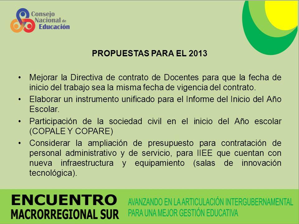 PROPUESTAS PARA EL 2013 Mejorar la Directiva de contrato de Docentes para que la fecha de inicio del trabajo sea la misma fecha de vigencia del contrato.