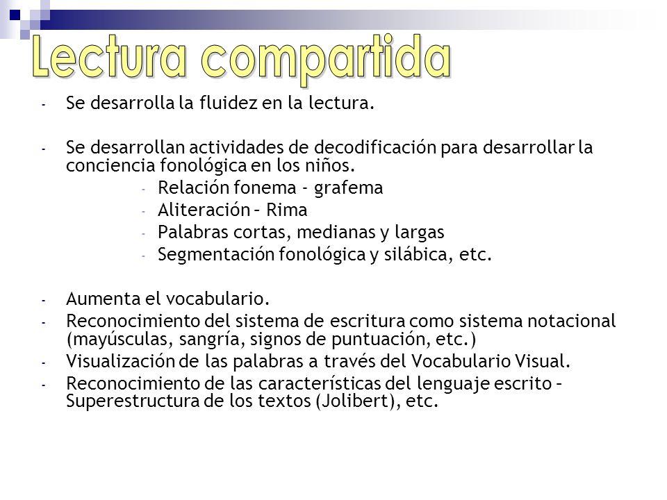- Se desarrolla la fluidez en la lectura. - Se desarrollan actividades de decodificación para desarrollar la conciencia fonológica en los niños. - Rel