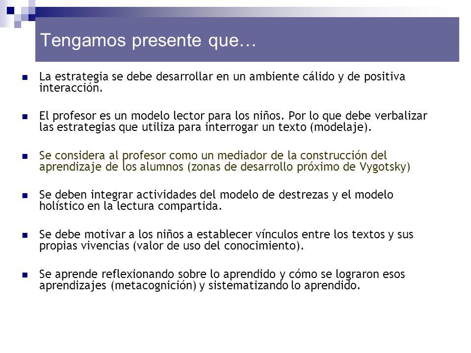 La estrategia se debe desarrollar en un ambiente cálido y de positiva interacción. El profesor es un modelo lector para los niños. Por lo que debe ver