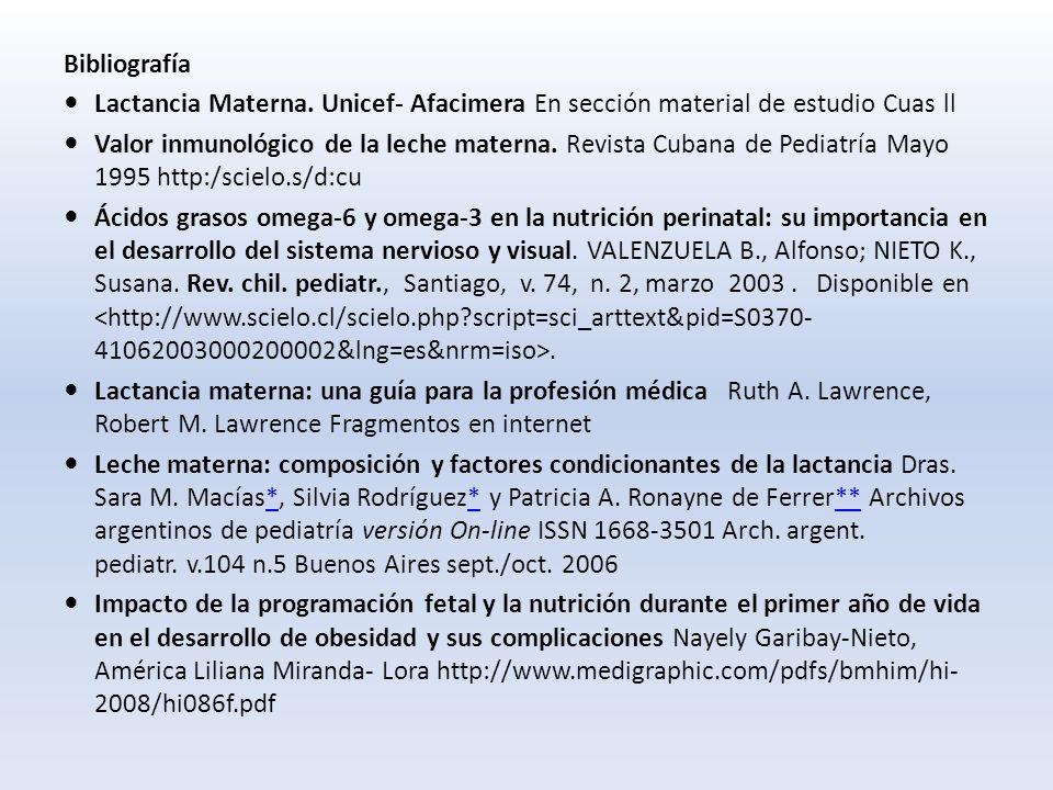 Bibliografía Lactancia Materna.