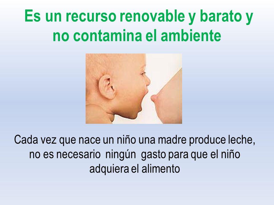 Es un recurso renovable y barato y no contamina el ambiente Cada vez que nace un niño una madre produce leche, no es necesario ningún gasto para que el niño adquiera el alimento
