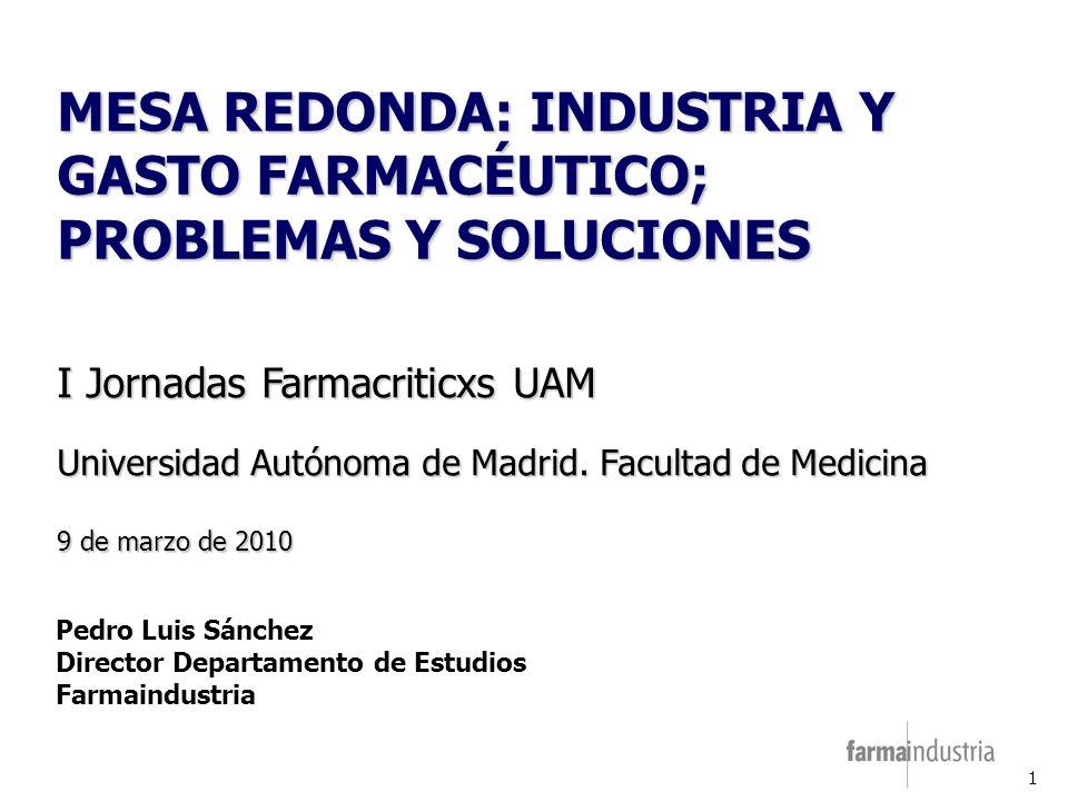 1 MESA REDONDA: INDUSTRIA Y GASTO FARMACÉUTICO; PROBLEMAS Y SOLUCIONES I Jornadas Farmacriticxs UAM Universidad Autónoma de Madrid.