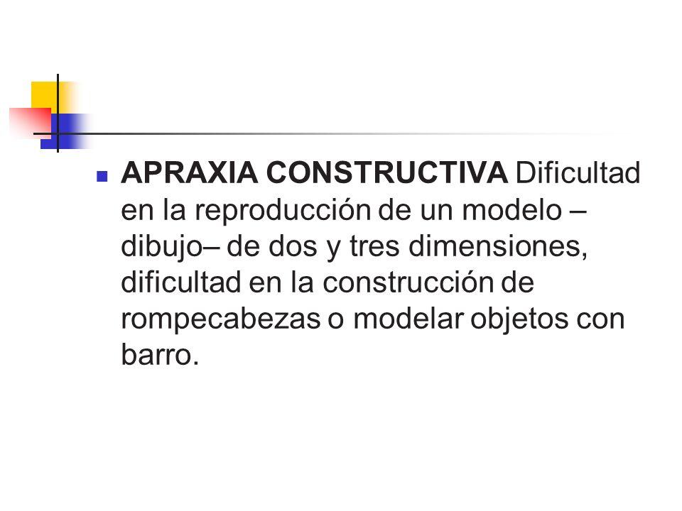 APRAXIA CONSTRUCTIVA Dificultad en la reproducción de un modelo – dibujo– de dos y tres dimensiones, dificultad en la construcción de rompecabezas o m