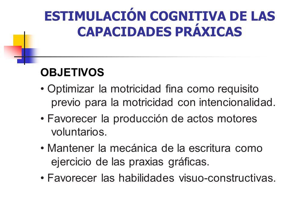 ESTIMULACIÓN COGNITIVA DE LAS CAPACIDADES PRÁXICAS OBJETIVOS Optimizar la motricidad fina como requisito previo para la motricidad con intencionalidad