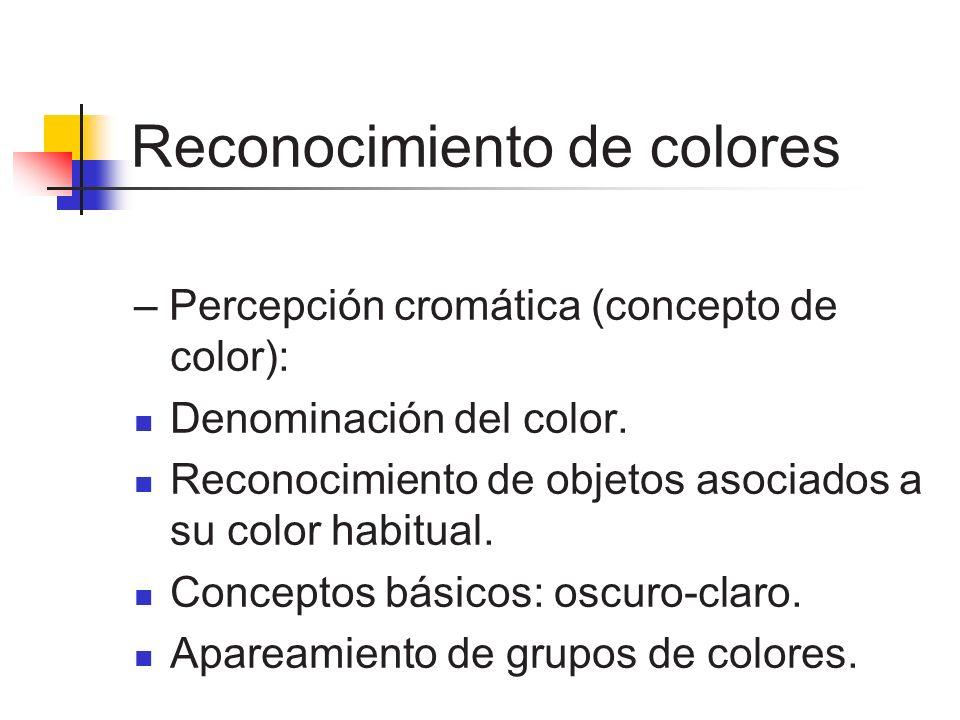 Reconocimiento de colores – Percepción cromática (concepto de color): Denominación del color. Reconocimiento de objetos asociados a su color habitual.