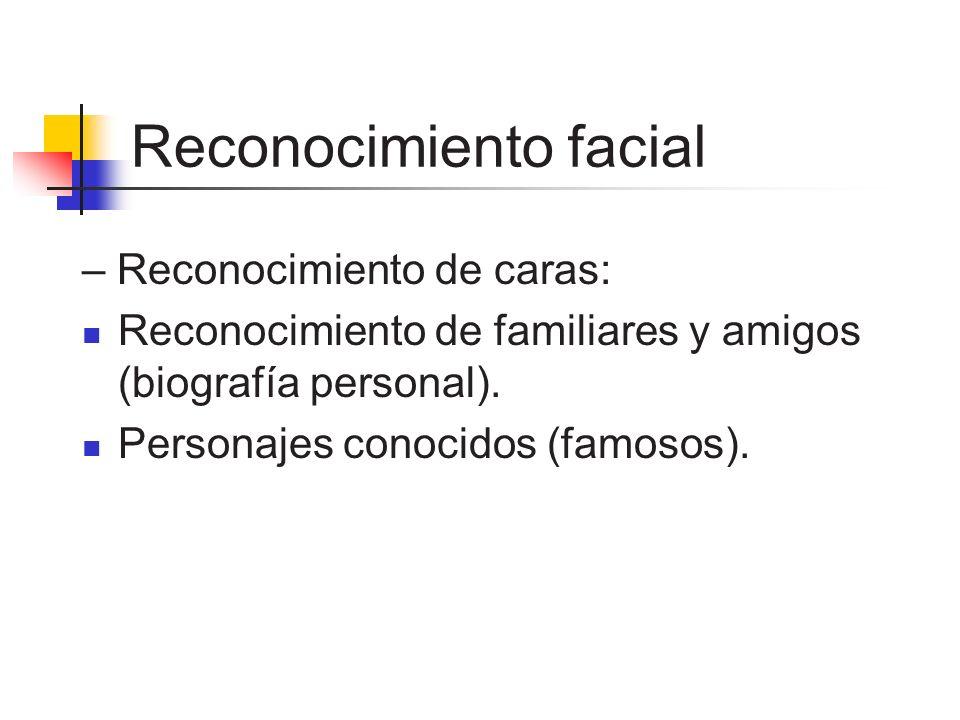 Reconocimiento facial – Reconocimiento de caras: Reconocimiento de familiares y amigos (biografía personal). Personajes conocidos (famosos).