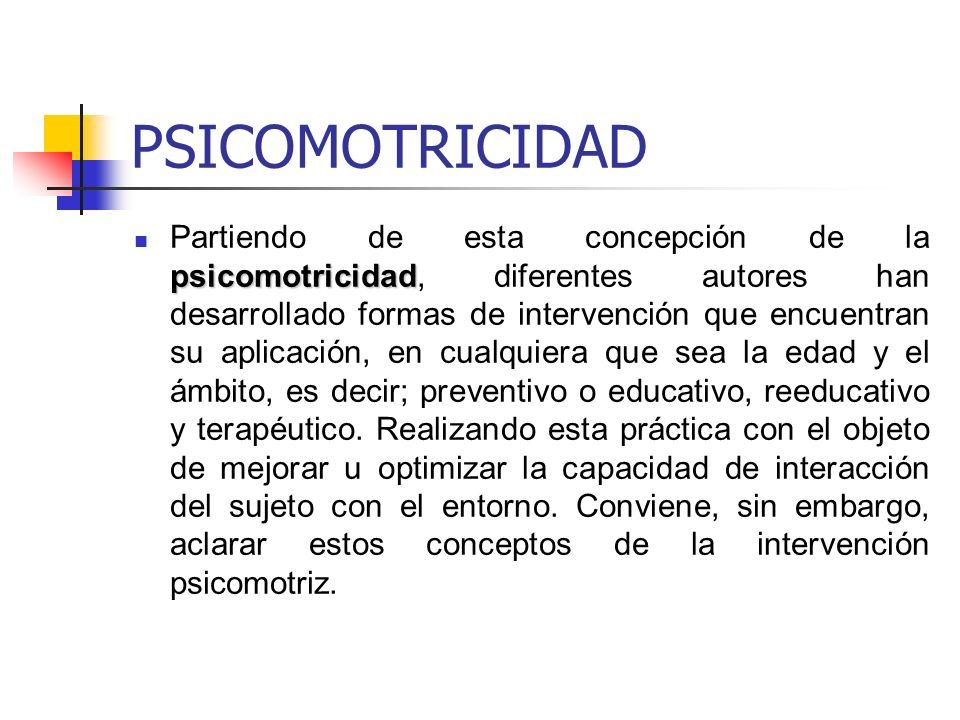PSICOMOTRICIDAD psicomotricidad Partiendo de esta concepción de la psicomotricidad, diferentes autores han desarrollado formas de intervención que enc
