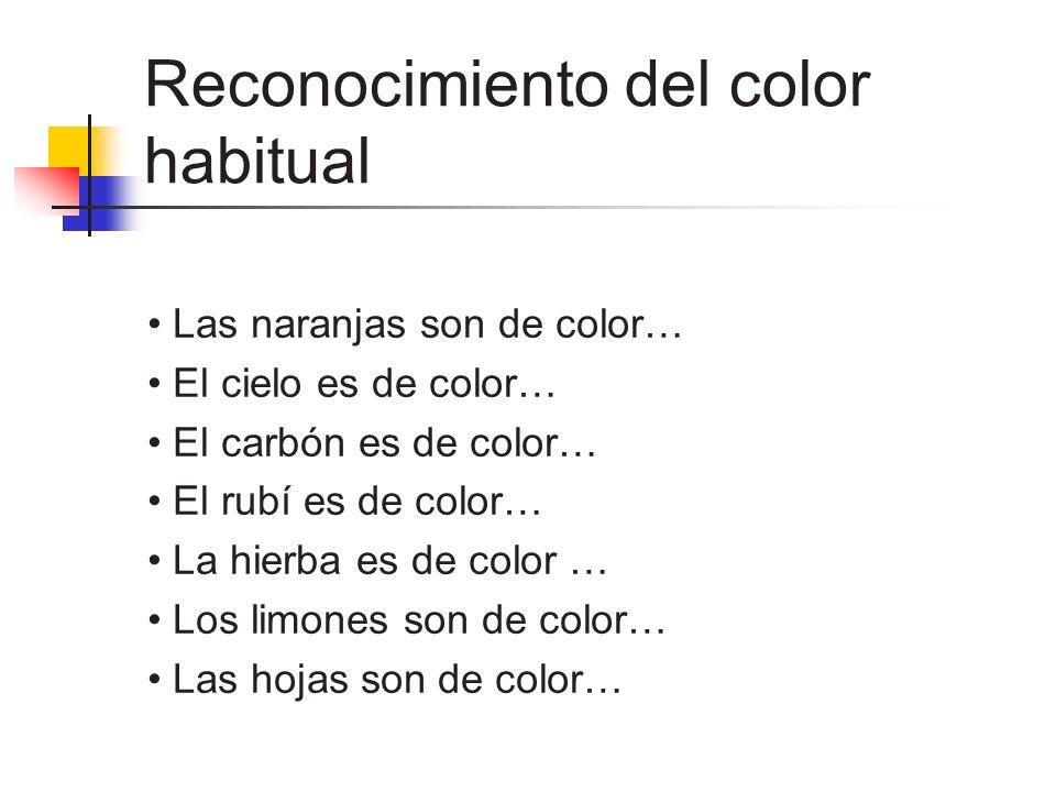 Reconocimiento del color habitual Las naranjas son de color… El cielo es de color… El carbón es de color… El rubí es de color… La hierba es de color …