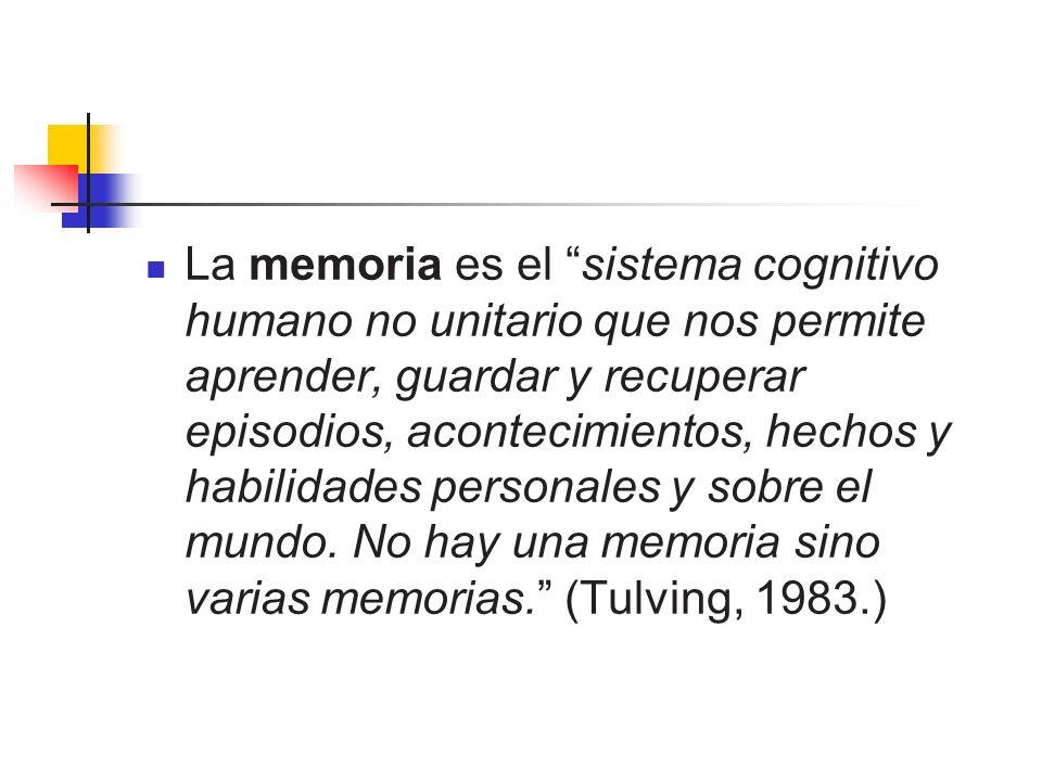 La memoria es el sistema cognitivo humano no unitario que nos permite aprender, guardar y recuperar episodios, acontecimientos, hechos y habilidades p