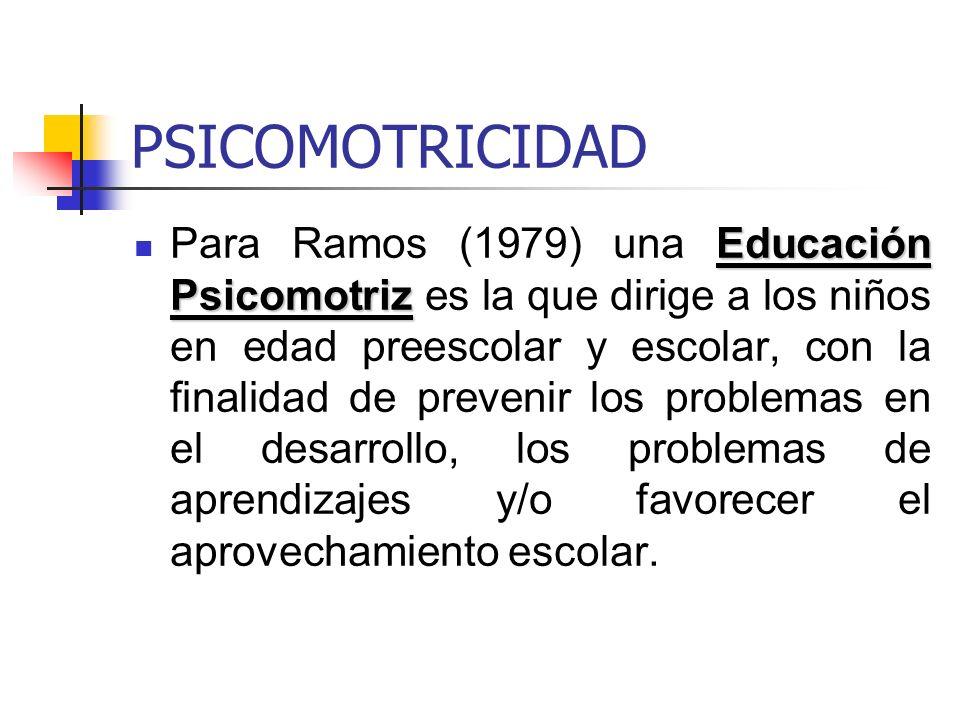 PSICOMOTRICIDAD Educación Psicomotriz Para Ramos (1979) una Educación Psicomotriz es la que dirige a los niños en edad preescolar y escolar, con la fi