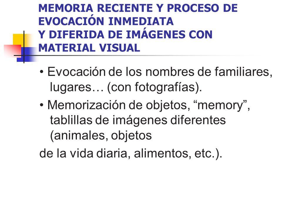 MEMORIA RECIENTE Y PROCESO DE EVOCACIÓN INMEDIATA Y DIFERIDA DE IMÁGENES CON MATERIAL VISUAL Evocación de los nombres de familiares, lugares… (con fot