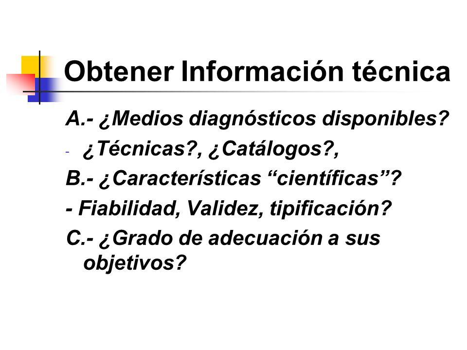 Obtener Información técnica A.- ¿Medios diagnósticos disponibles? - ¿Técnicas?, ¿Catálogos?, B.- ¿Características científicas? - Fiabilidad, Validez,