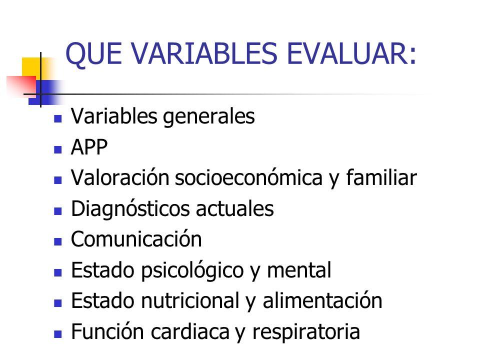 QUE VARIABLES EVALUAR: Variables generales APP Valoración socioeconómica y familiar Diagnósticos actuales Comunicación Estado psicológico y mental Est