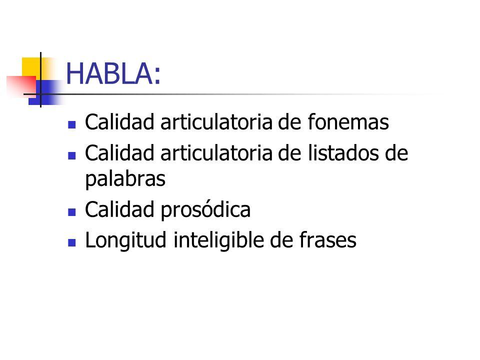 HABLA: Calidad articulatoria de fonemas Calidad articulatoria de listados de palabras Calidad prosódica Longitud inteligible de frases