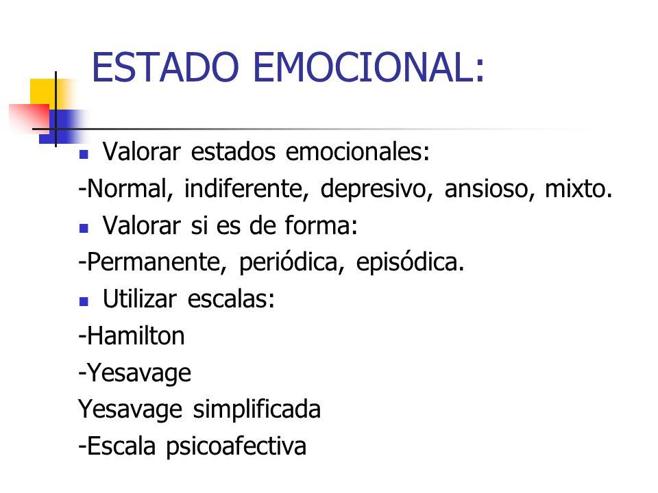 ESTADO EMOCIONAL: Valorar estados emocionales: -Normal, indiferente, depresivo, ansioso, mixto. Valorar si es de forma: -Permanente, periódica, episód