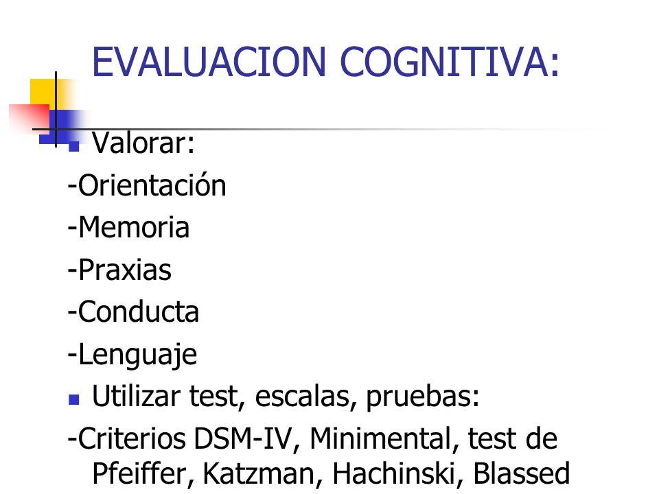 EVALUACION COGNITIVA: Valorar: -Orientación -Memoria -Praxias -Conducta -Lenguaje Utilizar test, escalas, pruebas: -Criterios DSM-IV, Minimental, test