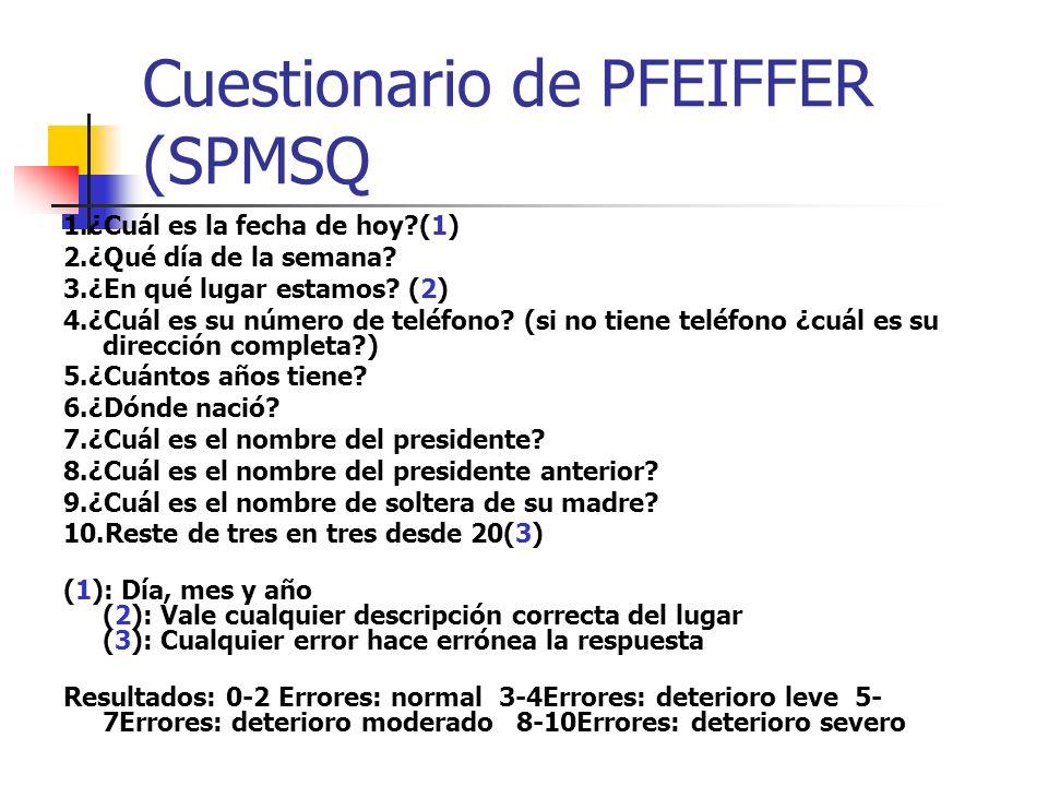 Cuestionario de PFEIFFER (SPMSQ 1.¿Cuál es la fecha de hoy?(1) 2.¿Qué día de la semana? 3.¿En qué lugar estamos? (2) 4.¿Cuál es su número de teléfono?