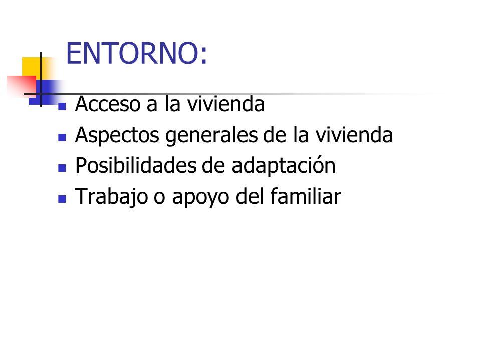 ENTORNO: Acceso a la vivienda Aspectos generales de la vivienda Posibilidades de adaptación Trabajo o apoyo del familiar