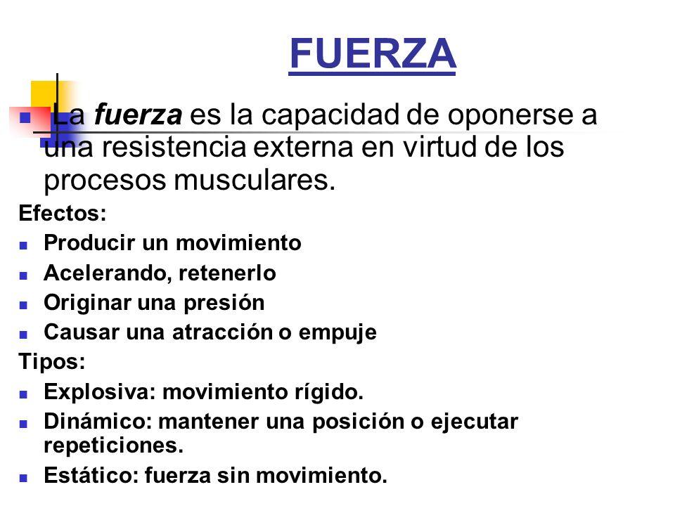 FUERZA La fuerza es la capacidad de oponerse a una resistencia externa en virtud de los procesos musculares. Efectos: Producir un movimiento Acelerand