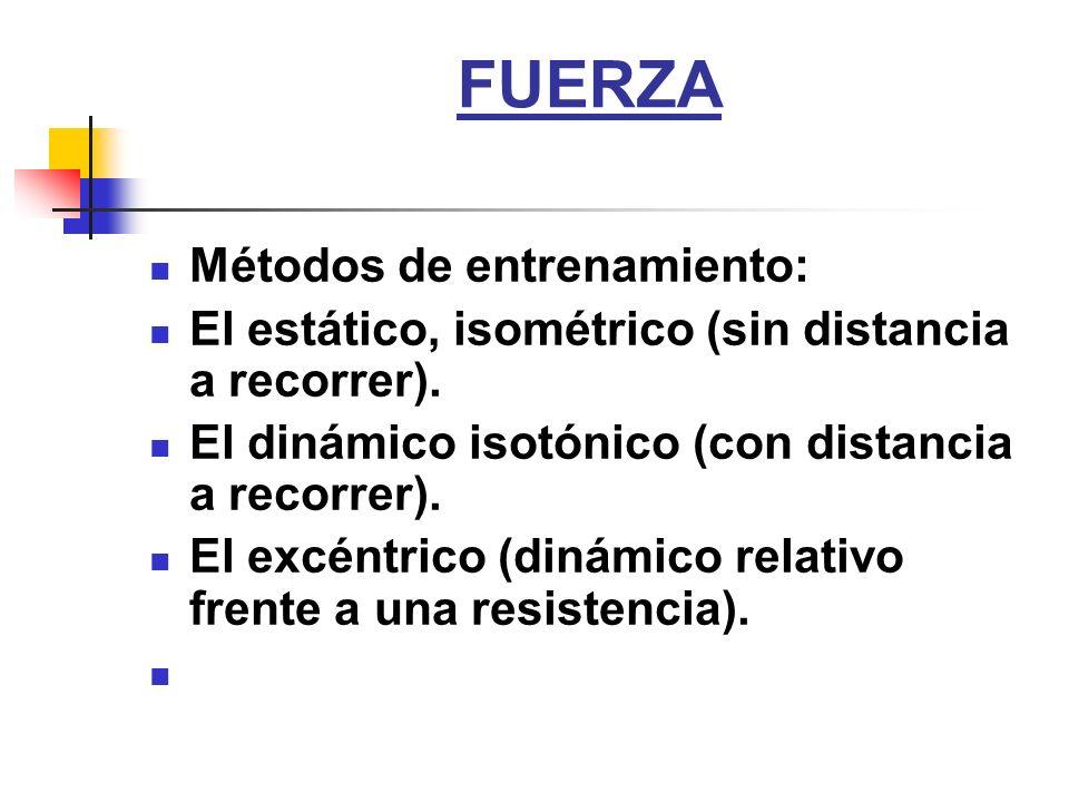 FUERZA Métodos de entrenamiento: El estático, isométrico (sin distancia a recorrer). El dinámico isotónico (con distancia a recorrer). El excéntrico (