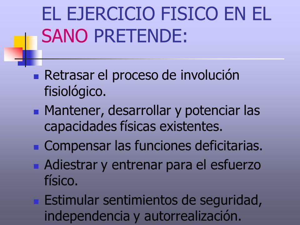 EL EJERCICIO FISICO EN EL SANO PRETENDE: Retrasar el proceso de involución fisiológico. Mantener, desarrollar y potenciar las capacidades físicas exis