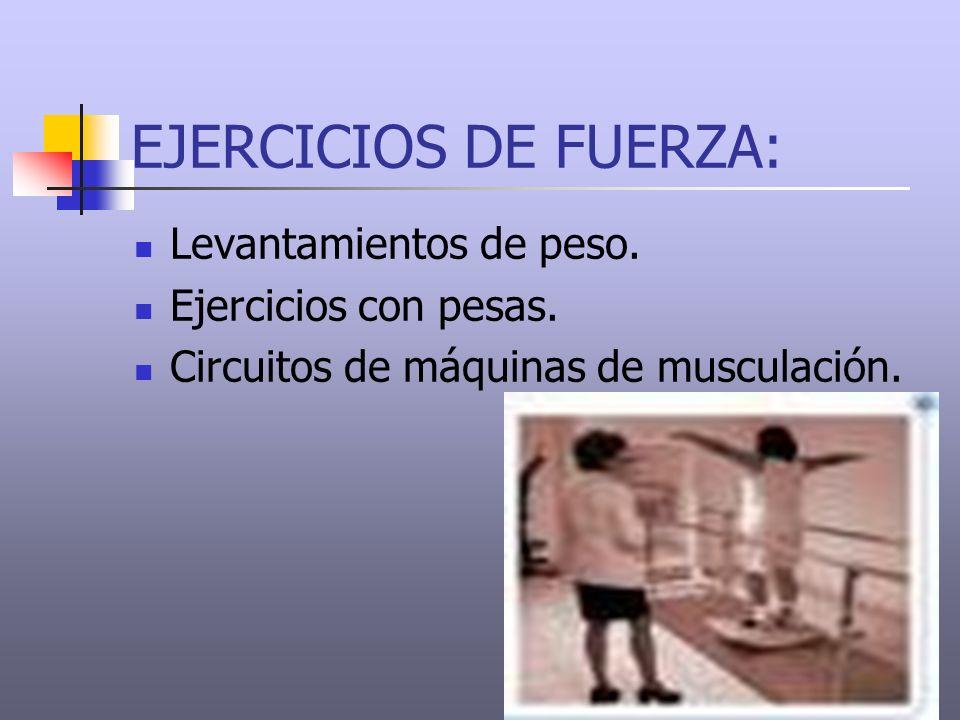 EJERCICIOS DE FUERZA: Levantamientos de peso. Ejercicios con pesas. Circuitos de máquinas de musculación.