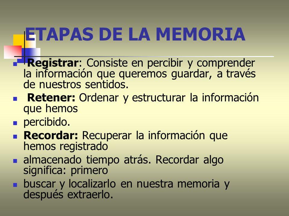 ETAPAS DE LA MEMORIA Registrar: Consiste en percibir y comprender la información que queremos guardar, a través de nuestros sentidos. Retener: Ordenar