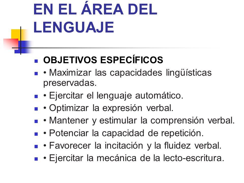 ESTIMULACIÓN COGNITIVA EN EL ÁREA DEL LENGUAJE OBJETIVOS ESPECÍFICOS Maximizar las capacidades lingüísticas preservadas. Ejercitar el lenguaje automát