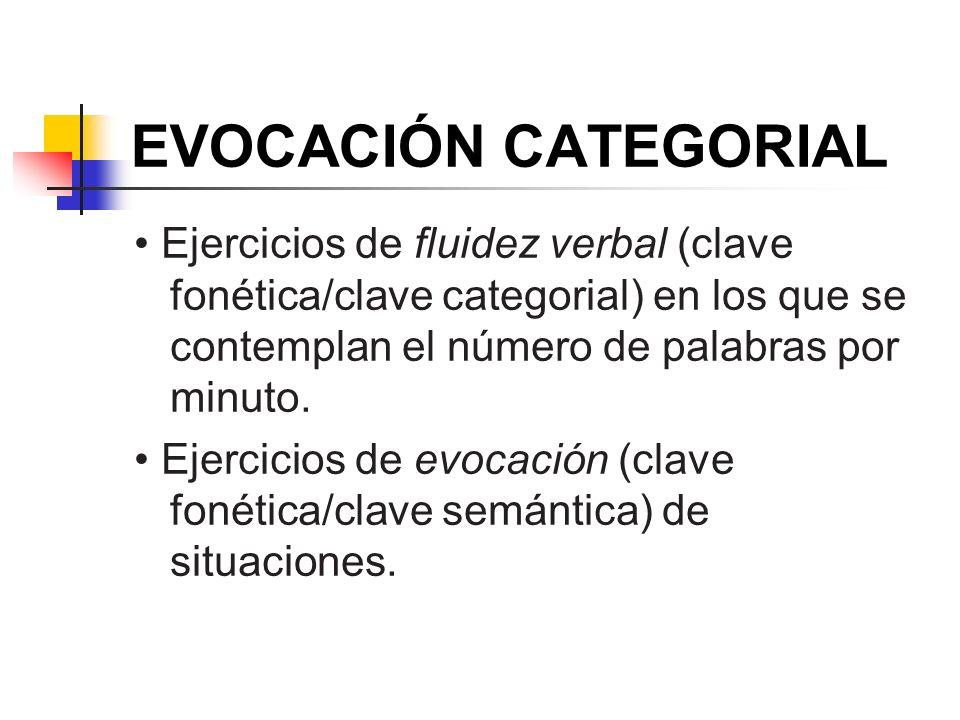 EVOCACIÓN CATEGORIAL Ejercicios de fluidez verbal (clave fonética/clave categorial) en los que se contemplan el número de palabras por minuto. Ejercic
